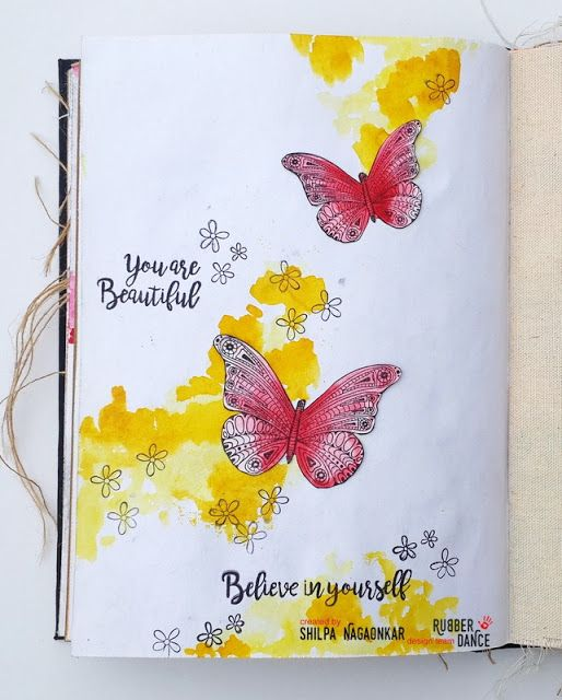 * Rubber Dance Blog *: Art Journal Page with Butterflies and watercolours