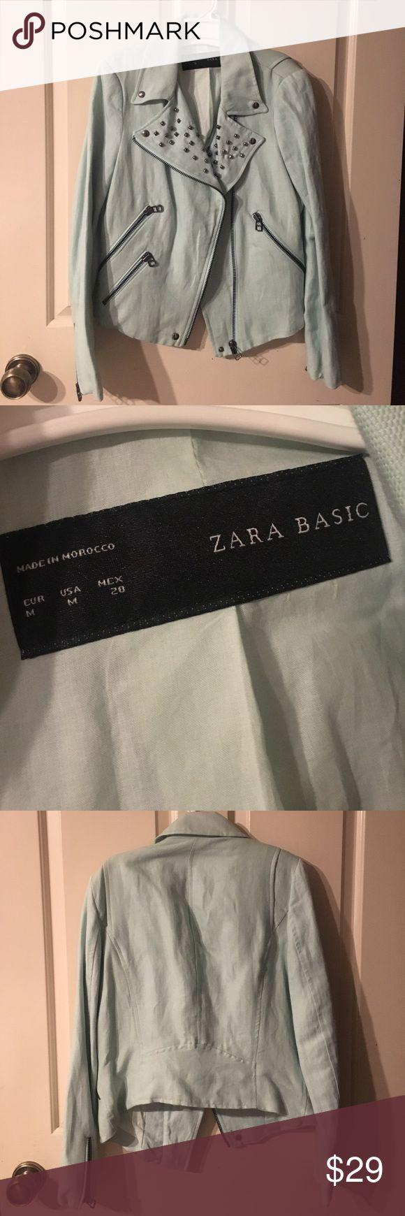 Zara jacket Baby blue Zara jacket with studs and zipper detailing Zara Jackets & Coats Blazers