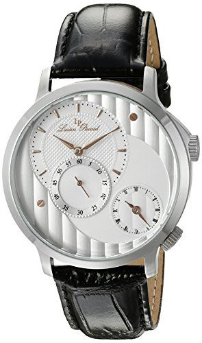 Lucien Piccard Men's 'Messina' Quartz Stainless Steel and Black Leather Casual Watch (Model: LP-10337-02S-RA). Dual Time. Silver Dial with Rose Gold Tone Hands and Hour Markers, Black Roman and Arabic Numerals; Mineral Crystal; Stainless Steel Case; Black Leather Strap. Japanese-quartz Movement. Case Diameter: 44mm. Water Resistant To 165 Feet.