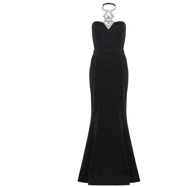 Black Diamante Halter Neck Fishtail Maxi Dress ($46) ❤ liked on Polyvore featuring dresses, halter-neck maxi dresses, fish tail dress, fishtail maxi dress, maxi dresses and halter neckline dress