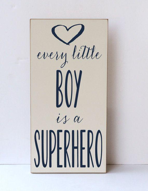 Little Boy Superhero Wood SignChildren Nursery by vinylcrafts