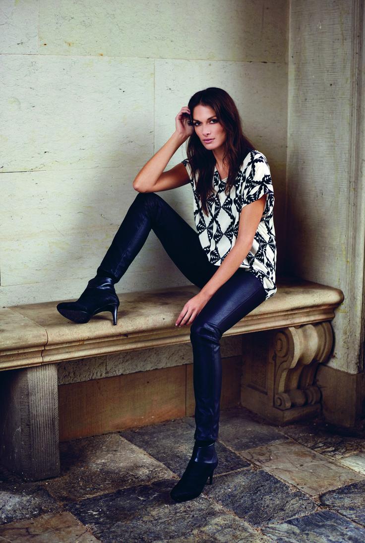 soyaconcept - shirt - blouse - pants - leatherpants - black and white