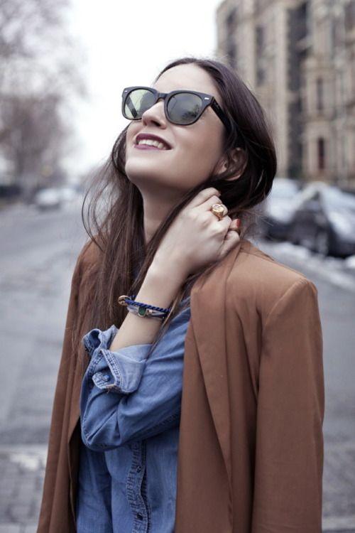 via Marion WD: Camel, Fashion, Street Style, Outfit, Denim Shirts, Ray Ban, Gala Gonzalez, Sunglasses