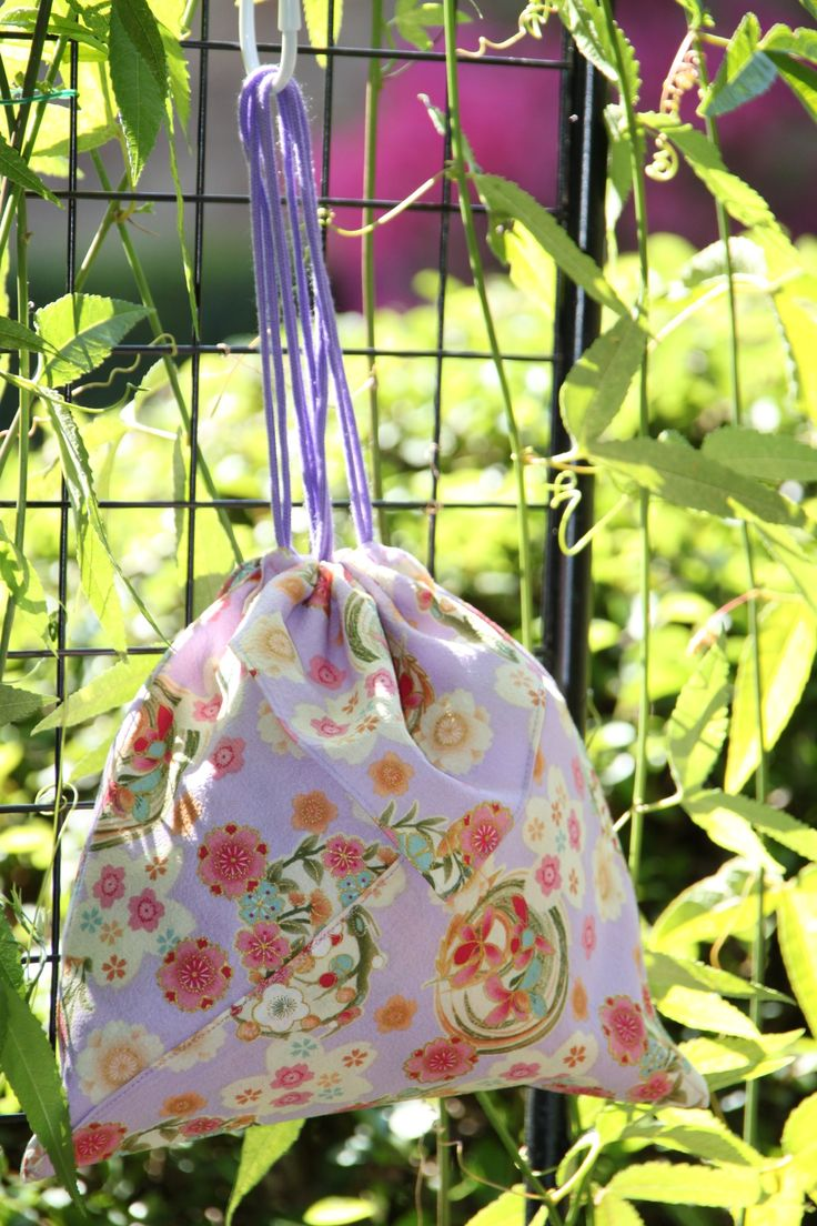 Origami bag in mauve floral Japanese fabric
