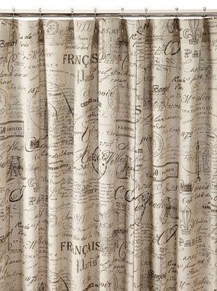 Chateau Blanc Script Shower Curtain, Neutral