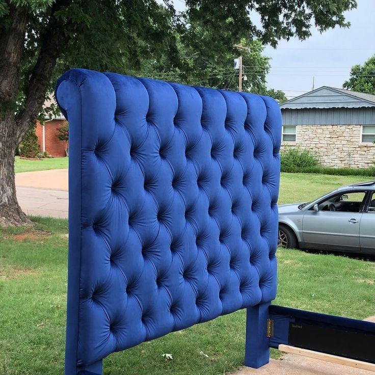 Sleigh Bed Tufted Headboard Channel Velvet Extra Tall