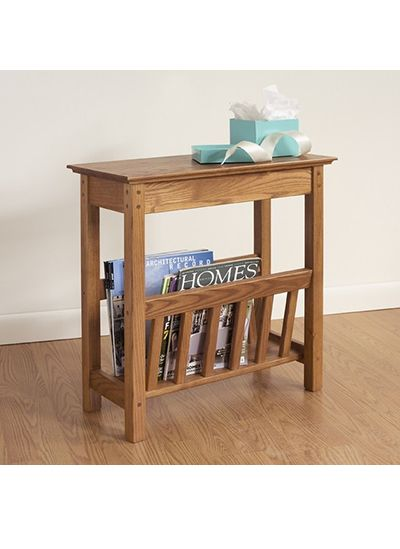 Narrow side table with magazine rack - a modern stylish storage for your weekly periodical.
