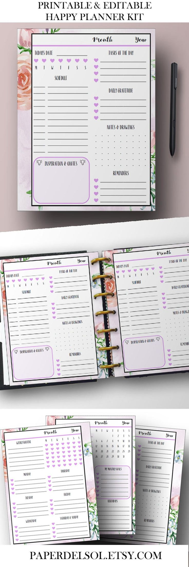 Happy Planner Printable, Happy Planner Inserts, Weekly Planner Printables, Daily Planner Pages, Weekly Printable, 7 x 9, Instant Download