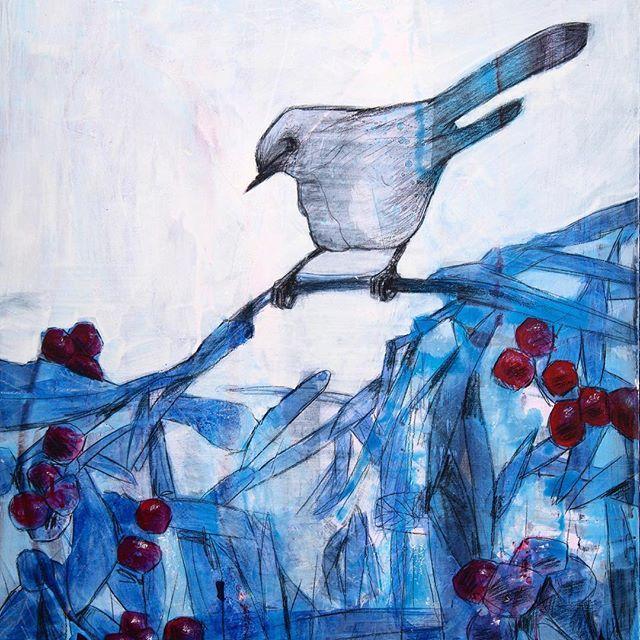 """""""Røde bær"""". Akryl, blyant og pastell. 50 x 60 cm #julemarked #galleberggodshus #galleberggata29 #galleri #kunst #sande #vestfold #gunillasfugler #gunillaholmplatou #maleri #painting #birdart #gunillasfugler"""