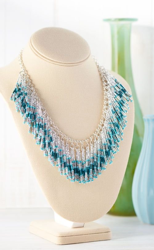 GoodyBeads   Blog : Falling Waters Necklace with seed beads and bugle beads.