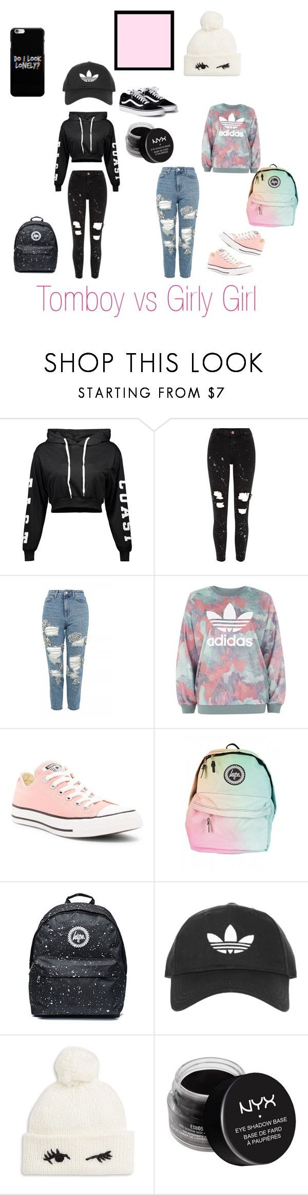"""Tomboy vs Girly Girl"" by katsquad ❤ liked on Polyvore featuring River Island, Topshop, adidas, Converse, Kate Spade and NYX"