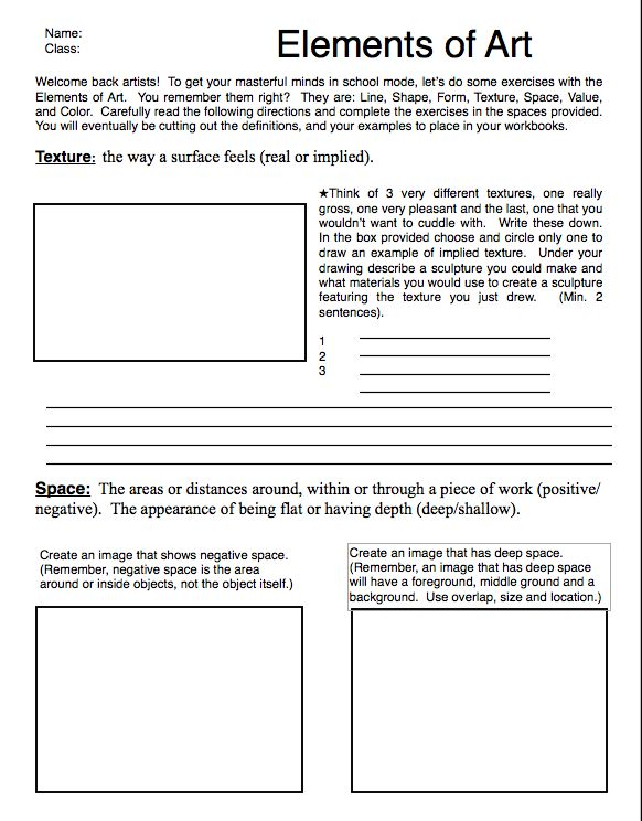 Excellent Elements Of Art Review Sheets From Teacherssaschina