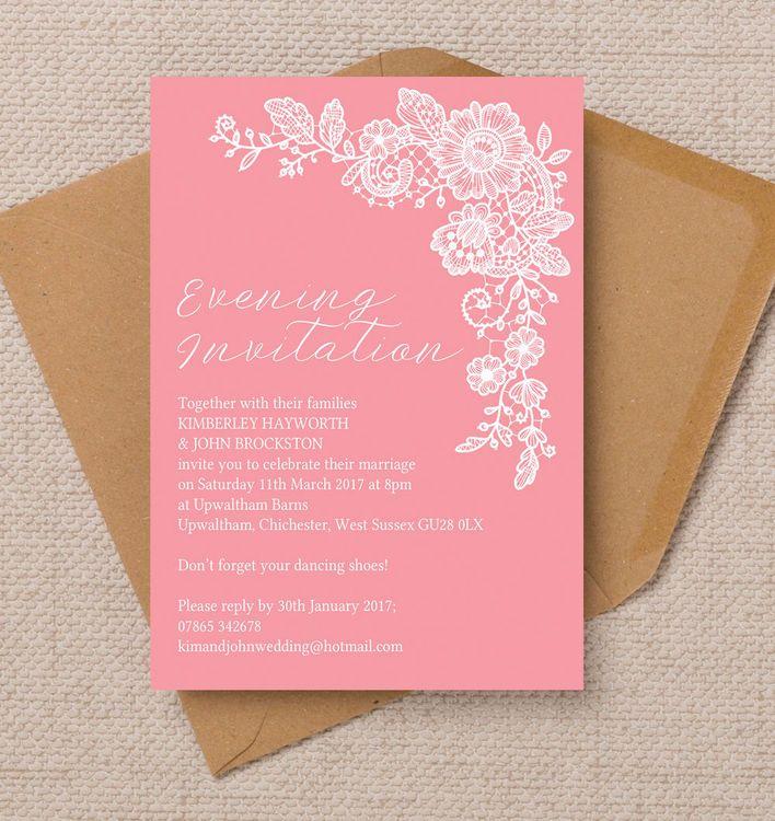 wedding invitation decoration clip art%0A Floral Lace Evening Reception Invitation