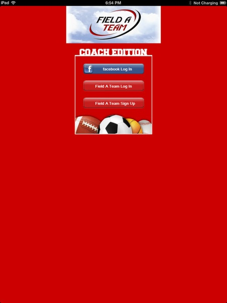 Field A Team Coach - iPad login screen