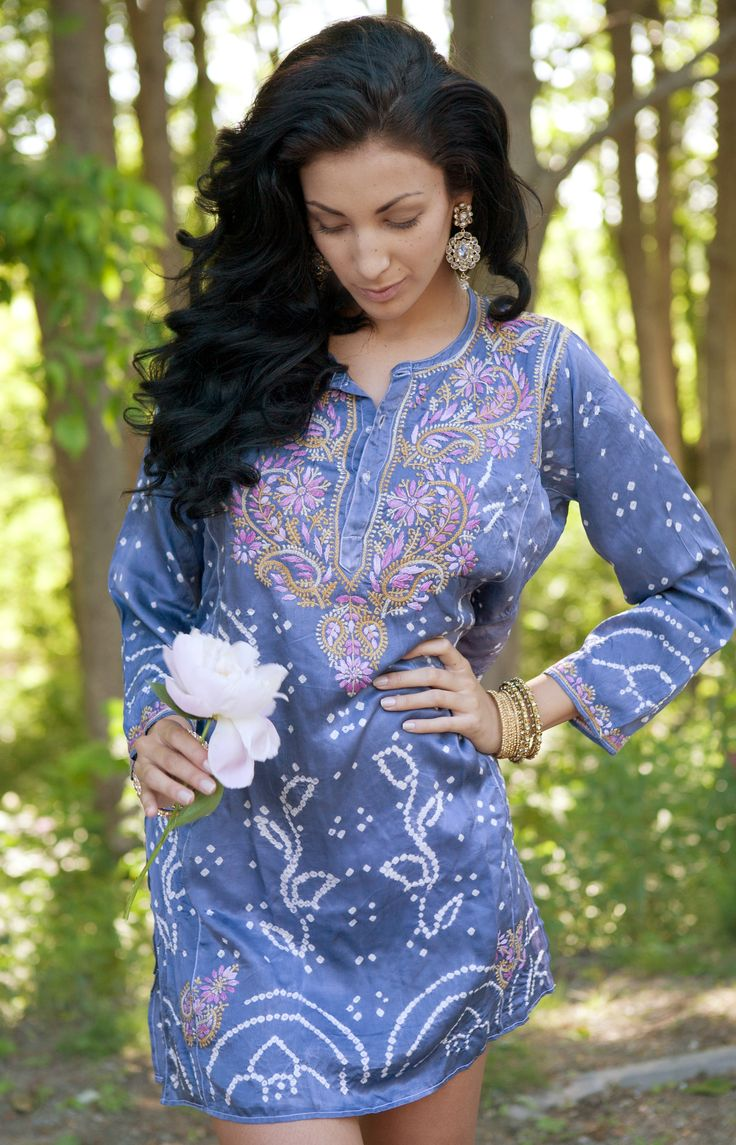 Silk tie die tunic with chikan embroidery