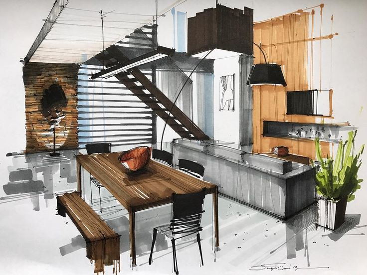 Interior Design Color Sketches. By Sergei Tihomirov.