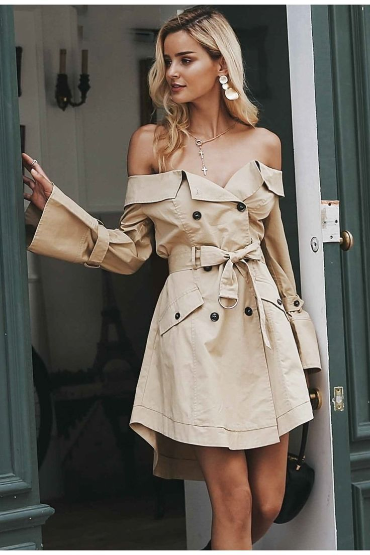 0f9cce506725ff Sexy off shoulder trench coat – Sainaluv