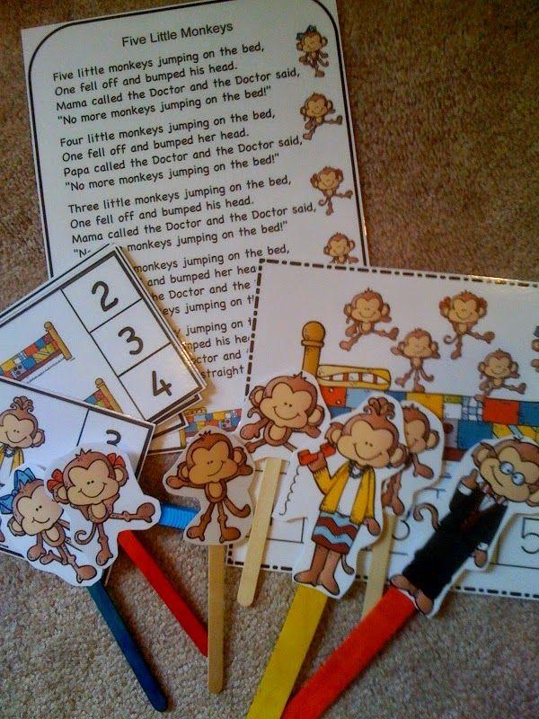 "Preschool Printables: ""Five Little Monkeys Jumping on the Bed"" Printable"