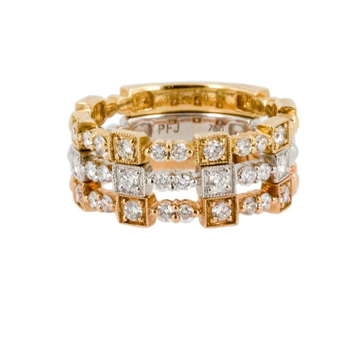 If you are the type to keep up with the latest in fashion trends, try these stacking rings. Each ring comes in 18k white, yellow or rose gold and can be worn together or separately. With the 0.23cts of diamonds on each band, it will sparkle for years to come. www.gembycarati.com www.facebook.com/gembycarati