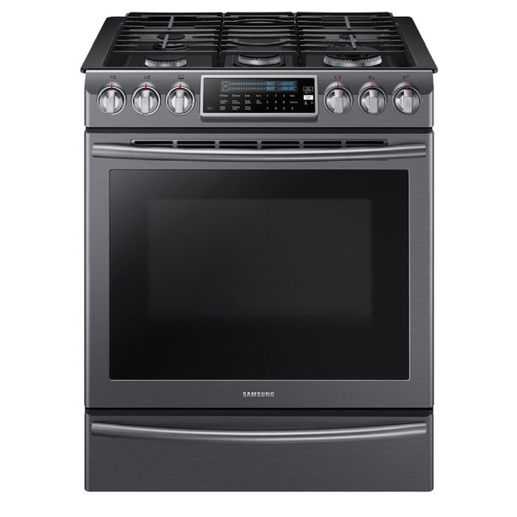 Samsung 5-Burner 5.8-cu ft Slide-In Convection Gas Range (Black Stainless Steel) (Common: 30-in; Actual 29.8125-in)