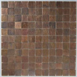 Copper - kitchen backsplash. Also has the same dark gray/blue tones from the island cabinet color.