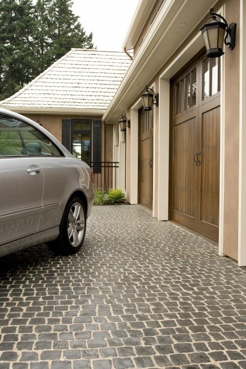 Garage doors & stone drive