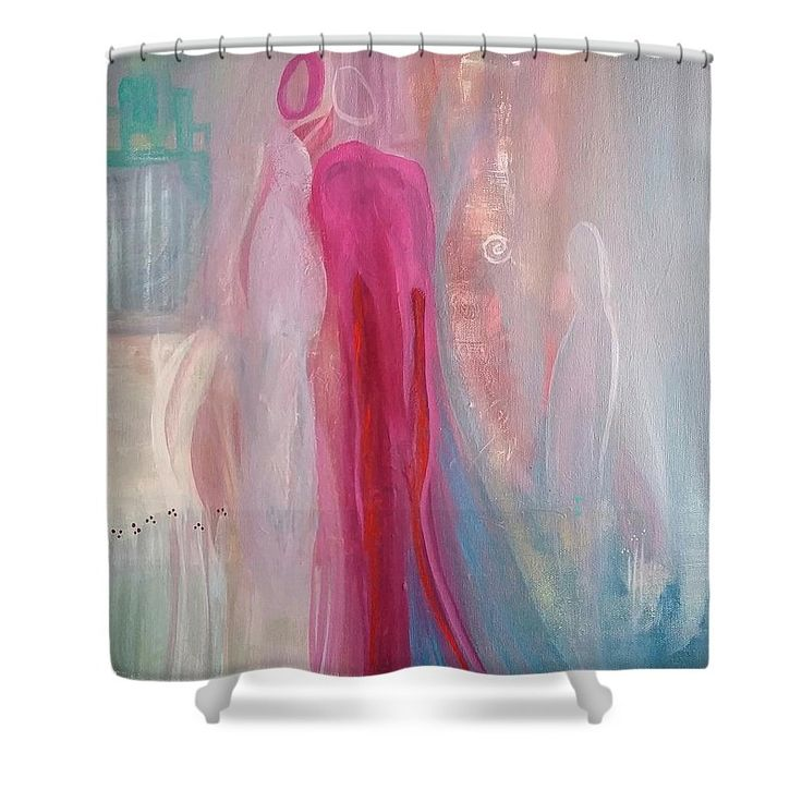 """Whispers Shower Curtain by Amber Tattersall. This shower curtain is made from 100% polyester fabric and includes 12 holes at the top of the curtain for simple hanging. The total dimensions of the shower curtain are 71"""" wide x 74"""" tall."""