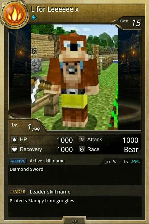 L For Lee Minecraft A pokemon type card bu...