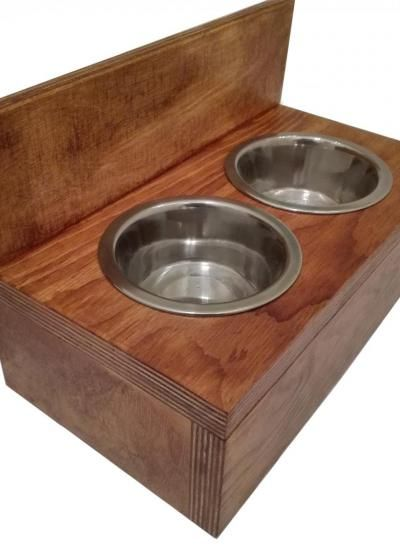 Drewniane miski dla kota :)