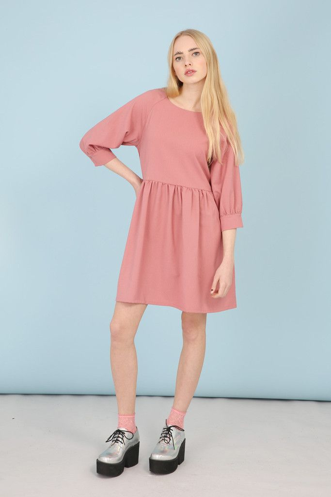 Button-Cuff Angel Dress Pink