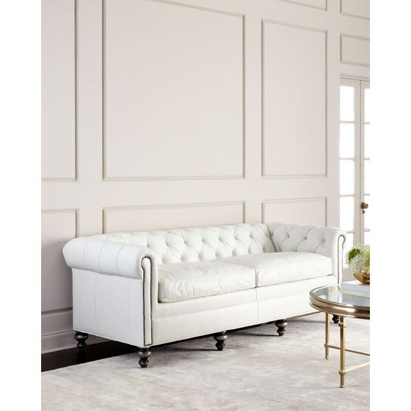 Old Hickory Tannery Whitestone Chesterfield Leather Sofa (5'615 CHF) ❤ liked on Polyvore featuring home, furniture, sofas, white, nailhead leather sofa, nailhead sofa, white sofa, nailhead trim leather sofa and chesterfield sofa
