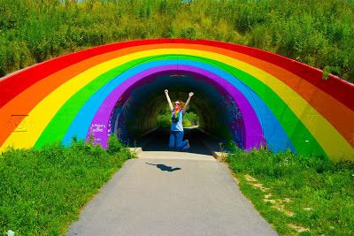 I must see this in person someday....Toronto's Don Valley Parkway Rainbow Mural