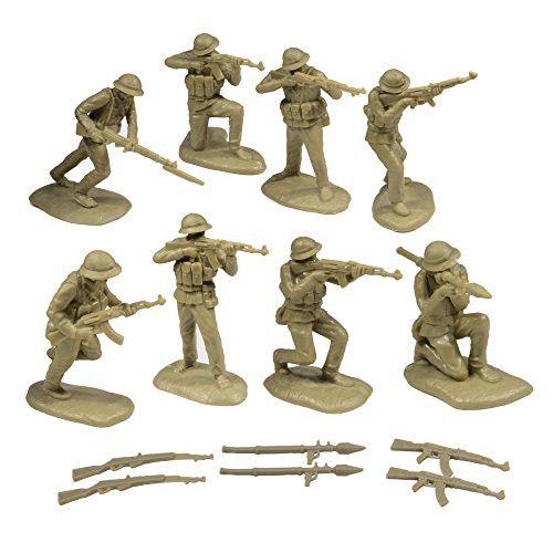 TSSD Vietnam NORTH VIETNAMESE ARMY: 16 Khaki 1:32 Plastic Army Men Figures