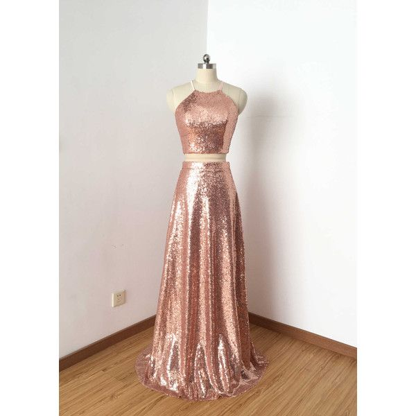 Two Piece Rose Gold Sequin Long Prom Dress 2017 (£92) ❤ liked on Polyvore featuring dresses, silver, women's clothing, rose gold dress, pink gold dress, two piece long dresses, sequined dresses and long prom dresses