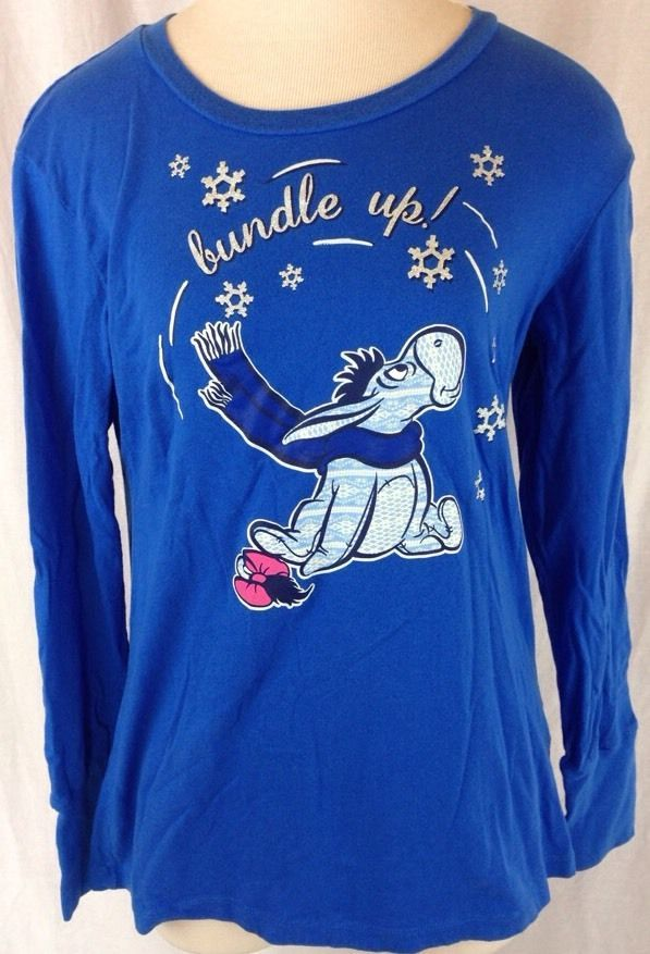 Christmas Blue EEYORE T shirt Top Ugly Sweater Party pooh Disney Snow  Glitter XL #Disney
