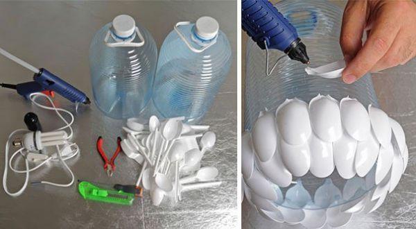 Bouteille recyclée en lampe