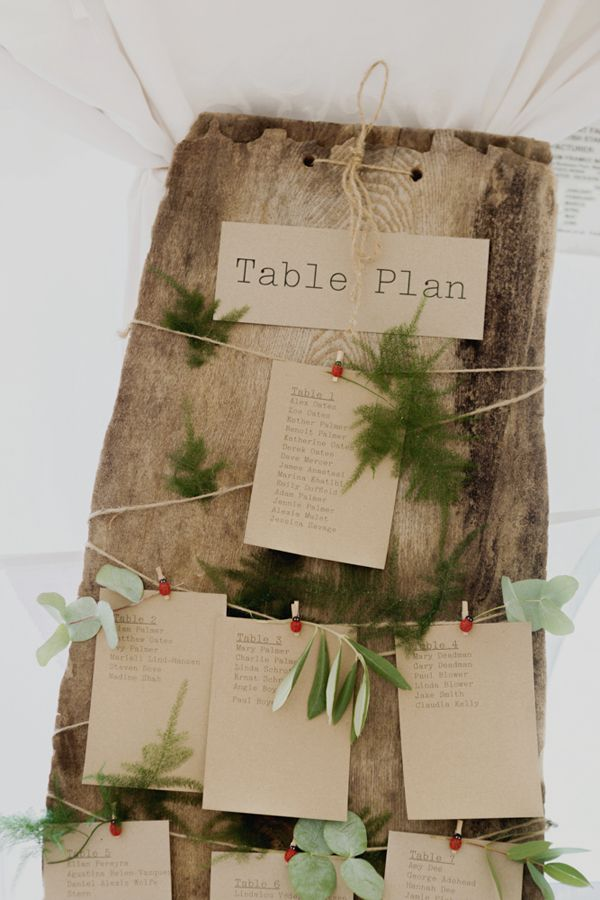 Rustic, natural table plan for Zoe and Alex's hippy outdoor wedding with a barefoot bride in a boho wedding dress // Photography: Mariell Amelie //The Natural Wedding Company