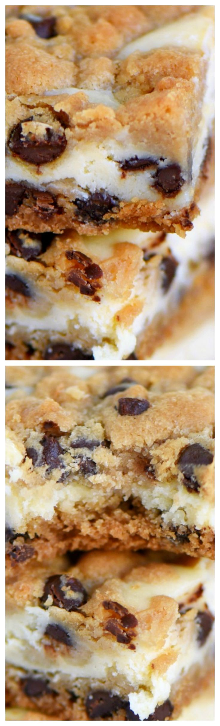 Easy Chocolate Chip Cookie Cheesecake Bars ~ Made with just five ingredients... This easy dessert recipe will satisfy all your cravings!