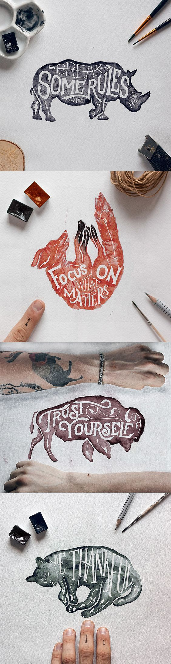 Gosha Bondarev of Saint Petersburg, Russian Federation, has a few phrases that he uses as his Rules of Success. In fact, that's the name of his latest series on Behance. Made using various mediums — pencils, ink and brushes — these animal illustrations are encouraging rules to live by.