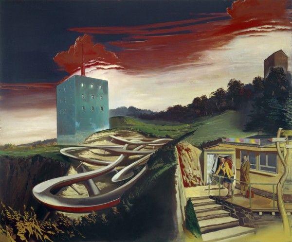 """Neo Rauch, """"Alte Verbindungen,"""" 2008, oil on canvas, 98 3/8 x 118 1/8 in."""