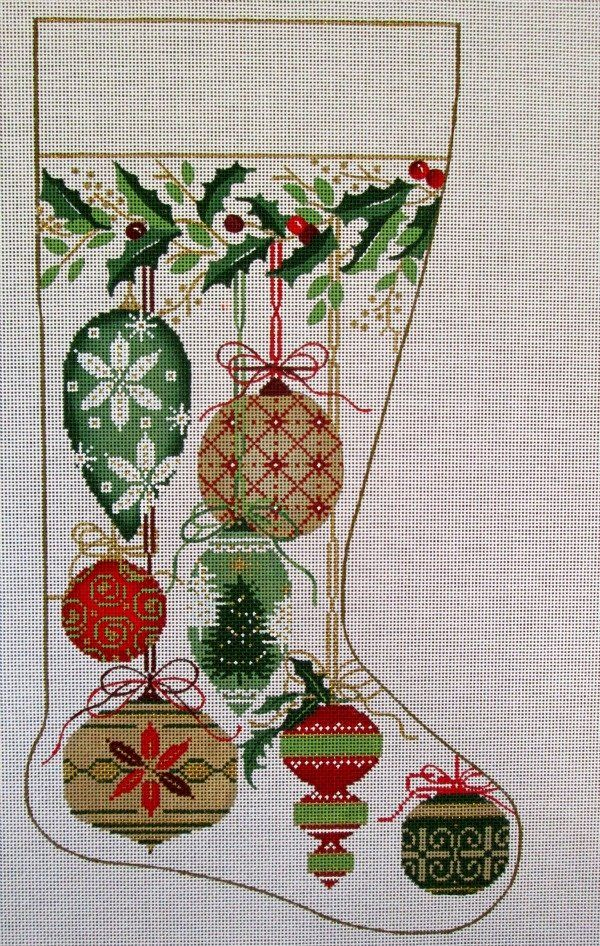 Needlepoint Christmas Stocking - Natural Ornaments