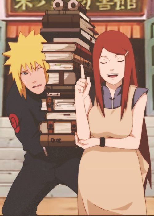 Minato and Kushina are so cute. #naruto yeah that's probably what would happen .