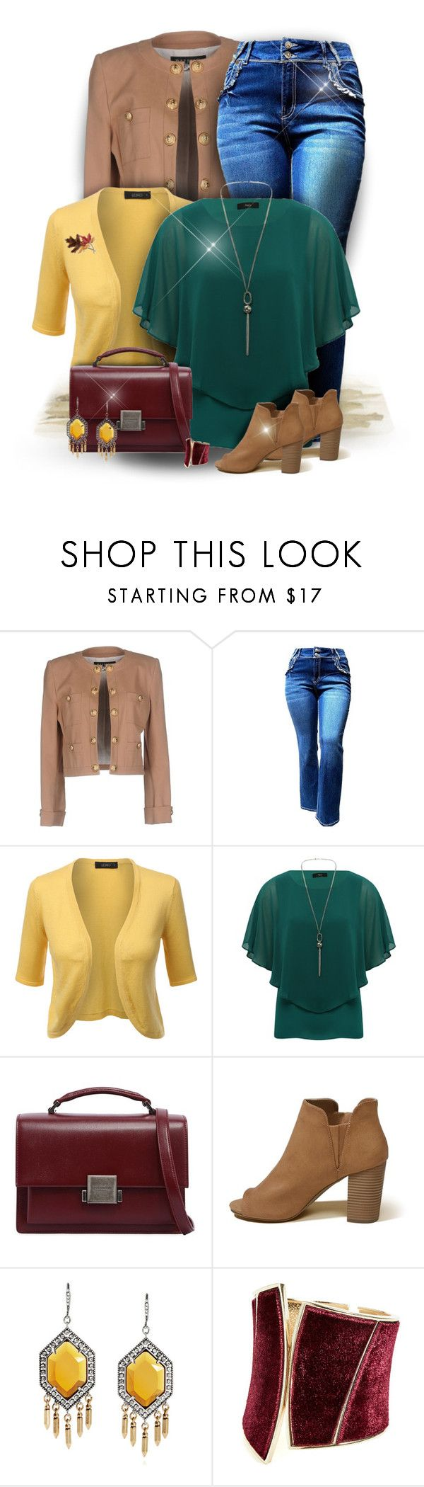 """""""Layered Up"""" by majezy ❤ liked on Polyvore featuring Balmain, LE3NO, M&Co, Yves Saint Laurent, Hollister Co., GUESS by Marciano and Anne Klein"""
