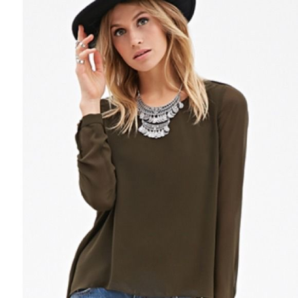 Olive green top Brand new military/olive green slouchy top w/a low back Forever 21 Tops