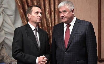 Head of the Foreign Intelligence Service Sergei Naryshkin (left) and Minister of the Interior Vladimir Kolokoltsev before the meeting of Military-Industrial Commission.