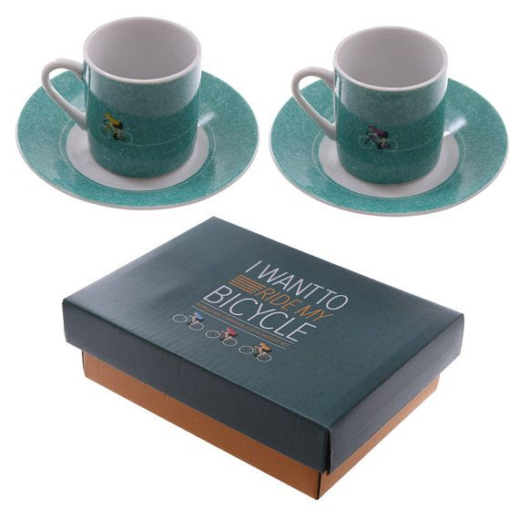 Coffee Cup Set of 2 Espresso Cup and Saucer  by getgiftideas