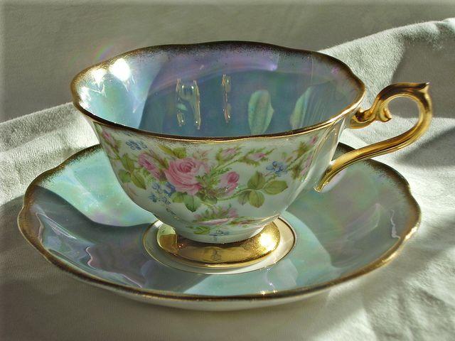 pale blue tea cup