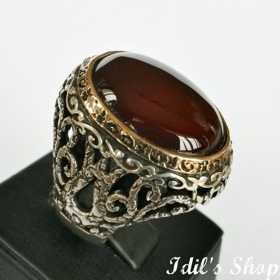Silver Turkish Platinum: Men's Ring, Turkish Ottoman Style Jewelry, 925 Sterling