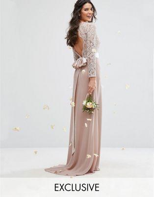 TFNC WEDDING Lace Maxi Dress With Bow Back