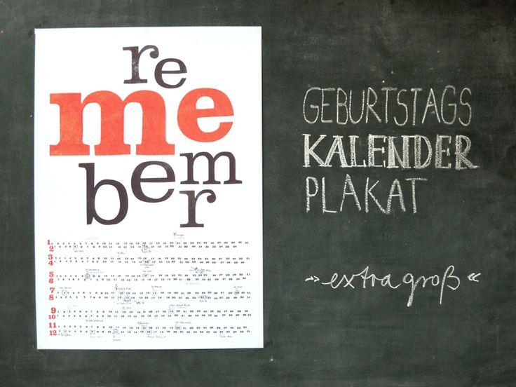 """Geburtstagskalender - Geburtstagskalender-Plakat """"remember me"""" - ein Designerstück von sperlingB bei DaWanda"""